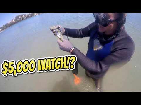 $5,000 Watch!?, Platinum,Gold & Silver Rings & More Found Metal Detecting Underwater