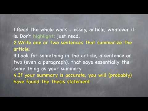 identifying thesis statements  basic reading and writing