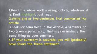 How to Identify the Thesis Statement
