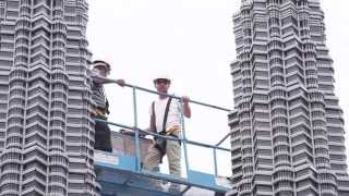 Installation of the Petronas Twin Towers Built from LEGO® Bricks