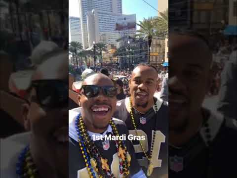 Saints Players' View from Mardi Gras Float
