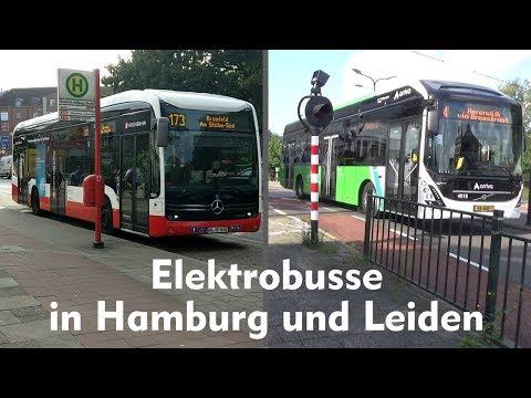Elektrobusse in Hamburg (Deutschland) und Leiden (Niederlande)