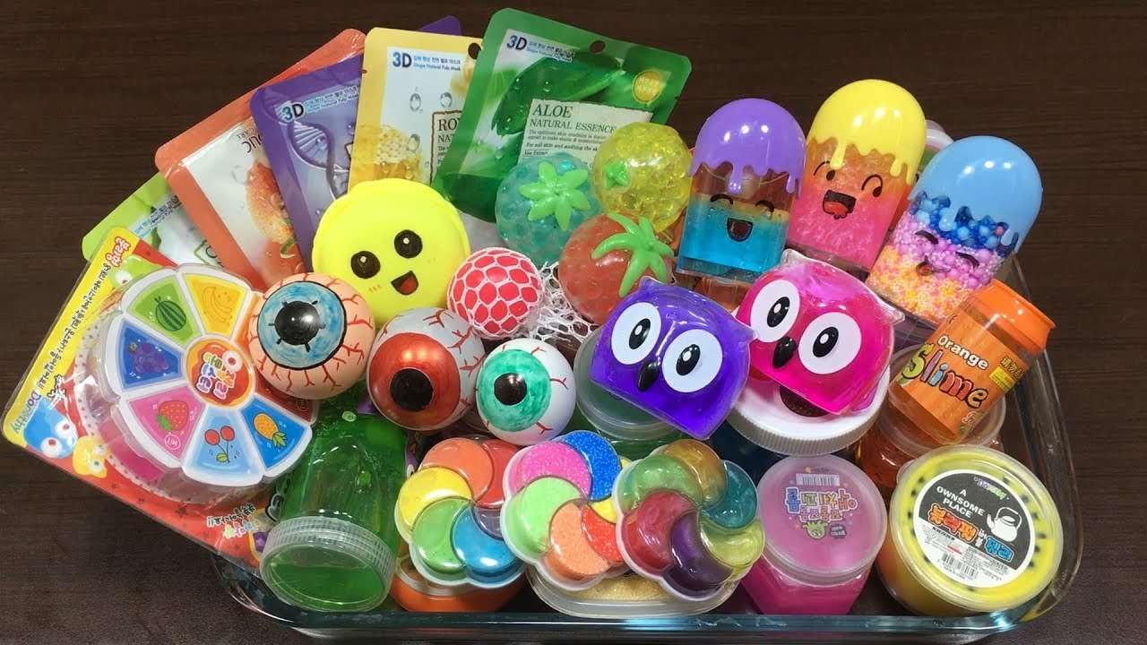 mixing-all-my-store-bought-slimes-relaxing-satisfying-slime