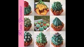 как сделать кактус? Пошагово рецепт карамельного капкейка и пошагово украшаем десерт в виде кактуса!