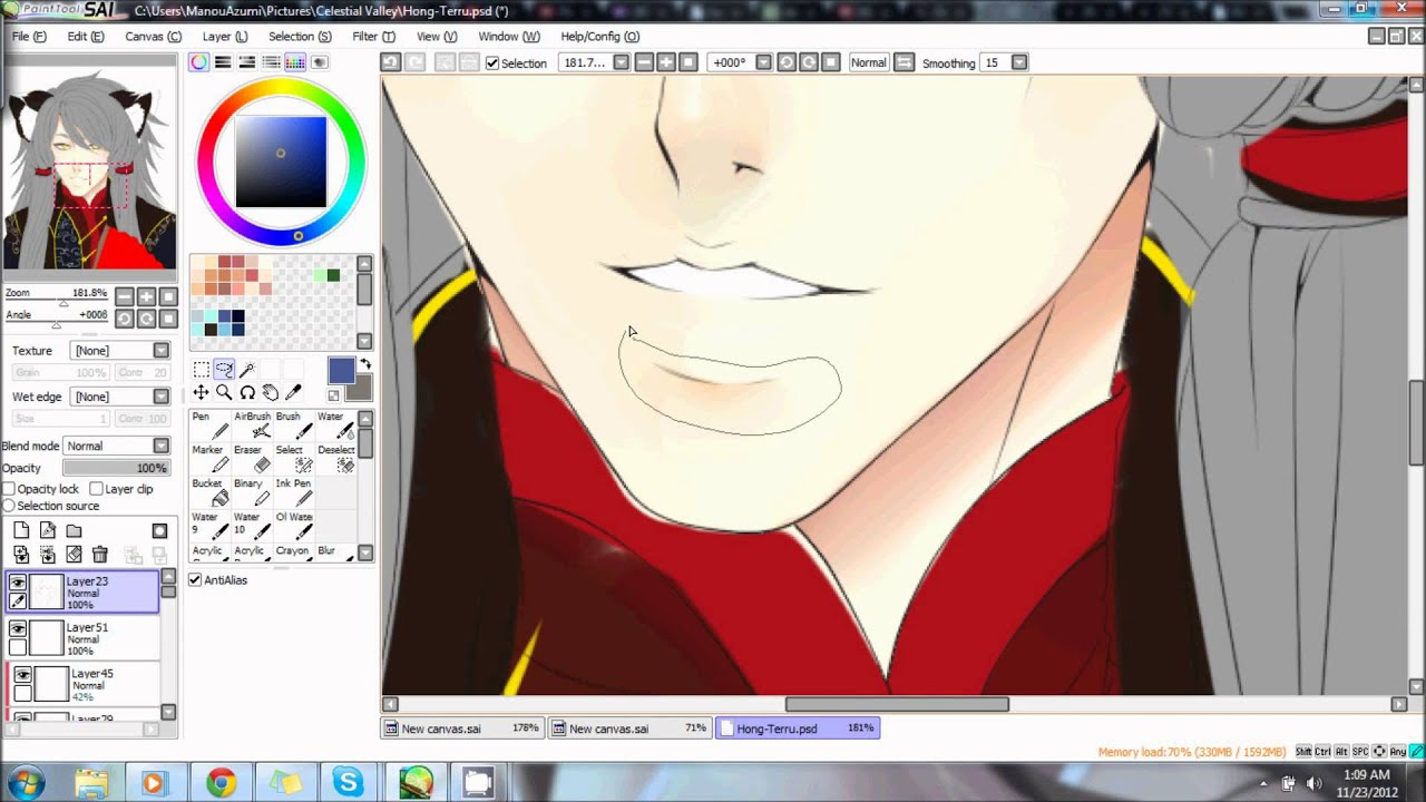 Coloring Skin on paint tool sai - YouTube