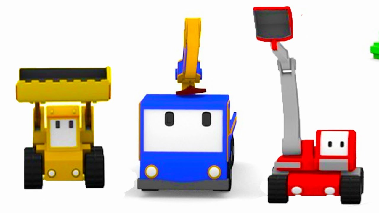 build-a-film-studio-with-the-tiny-trucks-bulldozer-crane-excavator-educational-cartoon-for-kids
