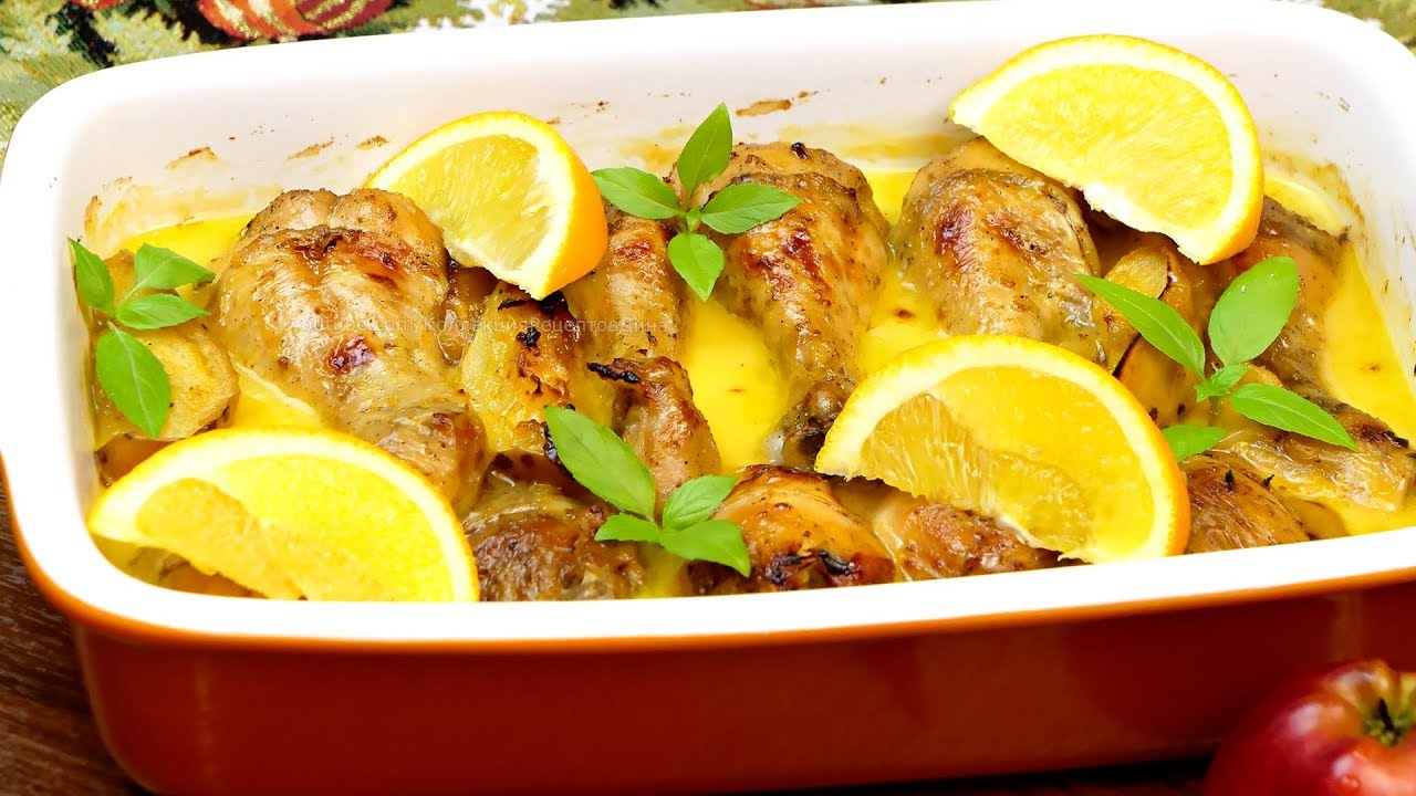 Горячее блюдо на Новогодний стол! Чудо-рецепт! Куриные голени в сливочно-апельсиновом соусе!