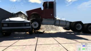 Massive chain car crashes in very slow motion in BeamNG.drive
