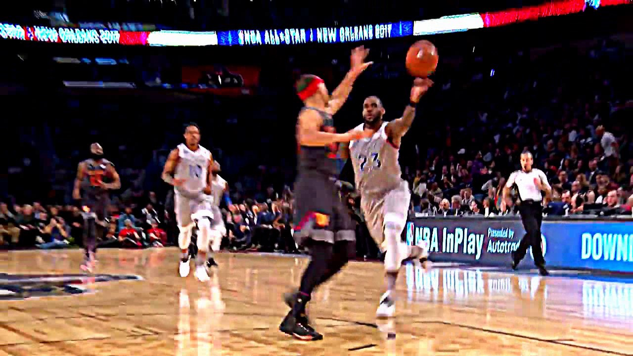66c4360788bf LeBron James off the backboard dunk on Steph Curry nba all star game 2017