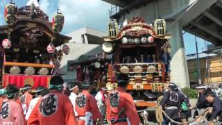 関東一の祇園 熊谷うちわ祭2016 初日 上熊谷駅前で鎌倉区、彌生町区、荒...