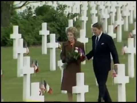 President Reagan at Utah Beach Ceremony with Allied Leaders on June 6, 1984