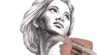 Woman Head Drawing 3 (Animation)