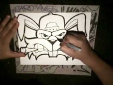 How To Draw A Crazy Rabbit Graffiti Character By Wizard