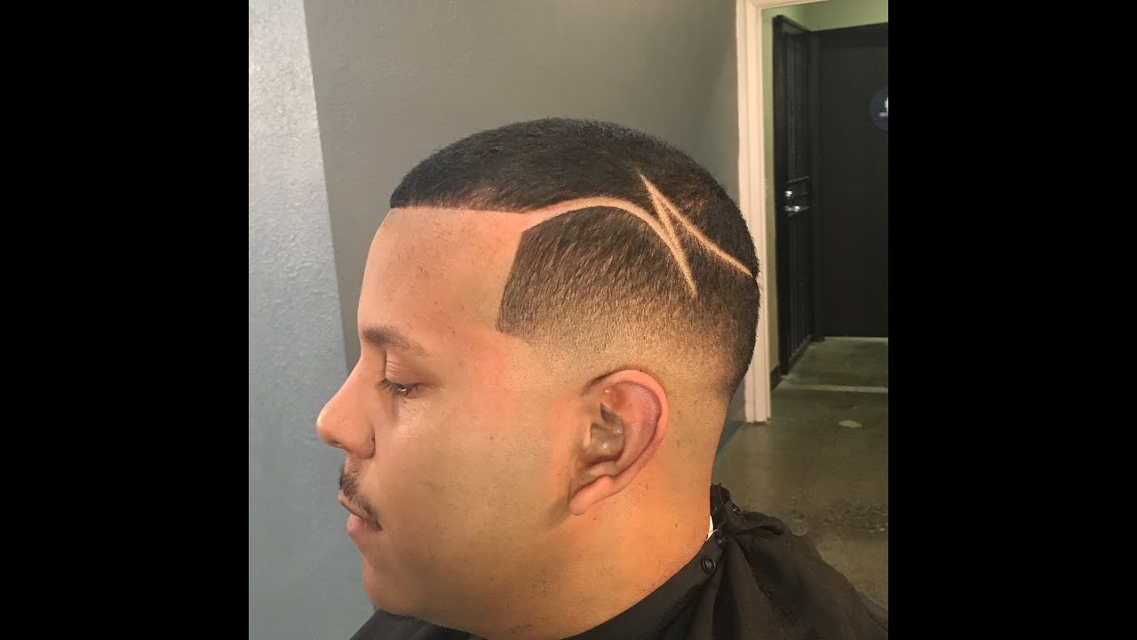bald fade low fade w/part design by zay the barber - youtube