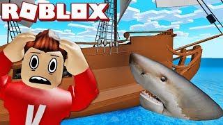 NOSSO NAVIO PIRATA ATACADO POR TUBARÃO! | Roblox inglês: mordida de tubarão