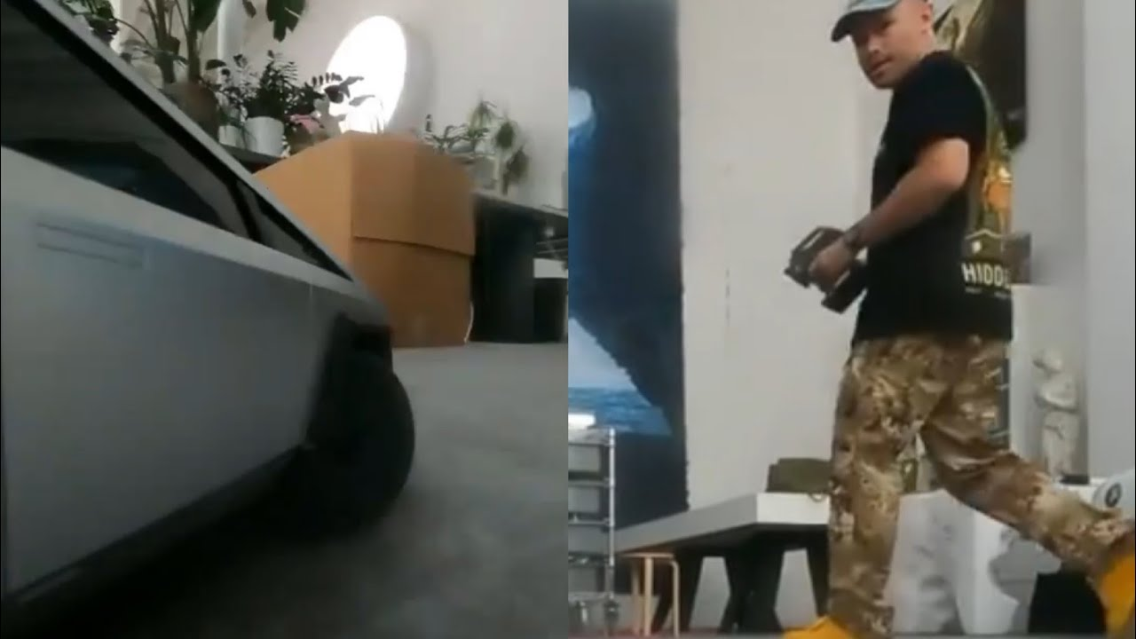 Daniel Arsham Whips A 1:10 Remote Control Tesla Cybertruck Around His Studio