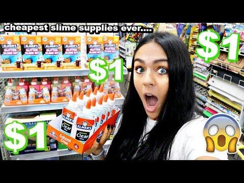 $1 DOLLAR STORE SLIME SUPPLIES SHOPPING!! *$1 Elmers glue...*