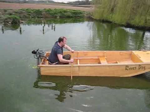Boat Launch River Dog Homemade boat in pond Seagull Outboard - YouTube