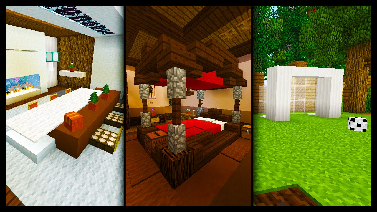 Minecraft 50 Furniture Room Designs Ideas Youtube