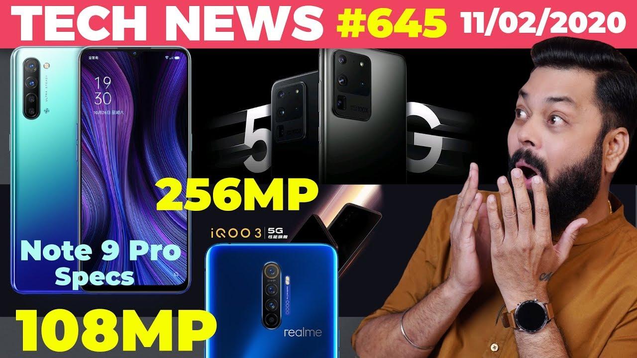 Spécifications Redmi Note 9 Pro, Realme 108MP Photo, IQOO 3 Launch Date, 256MP Camera Sensor, Samsung S20- # TTN645 + vidéo