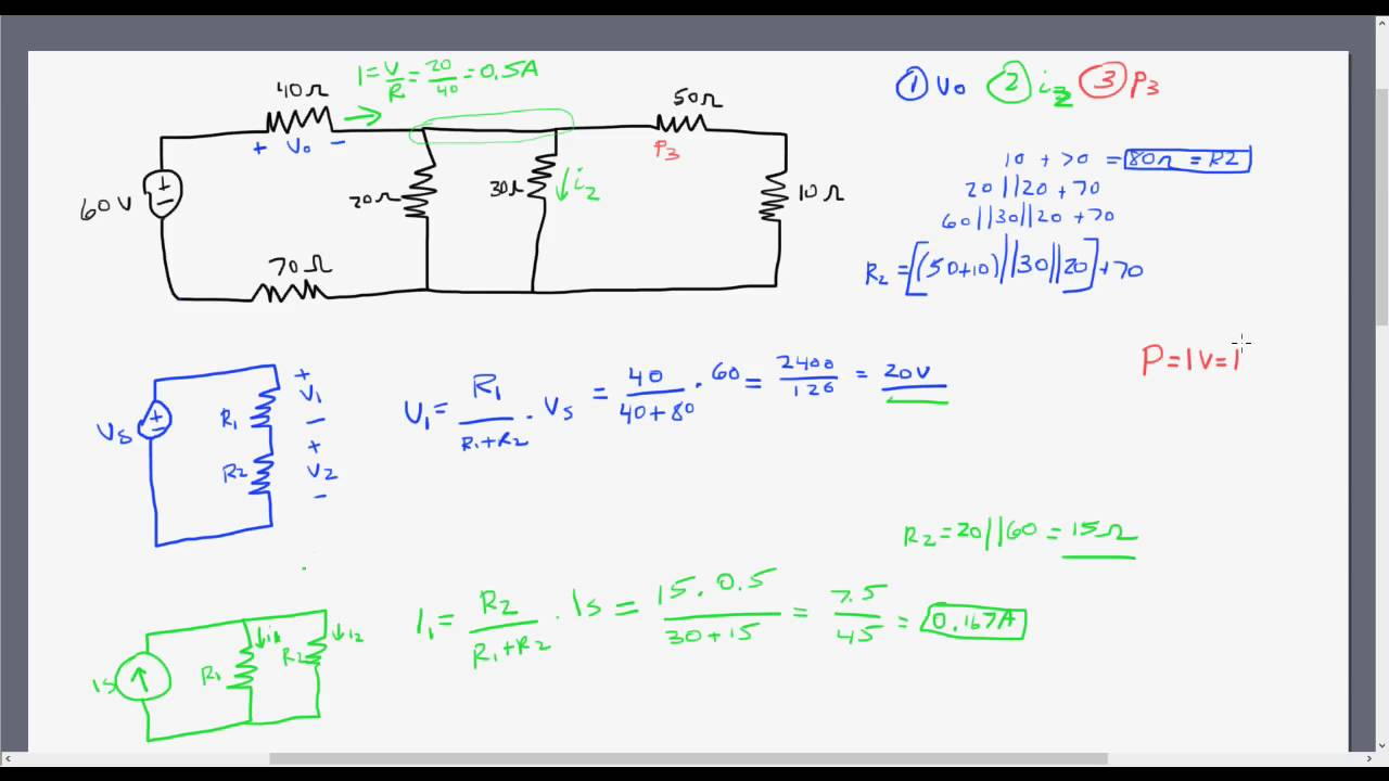 Solving Circuits Using Voltage Current Dividers Youtube What Is A Divider Circuit