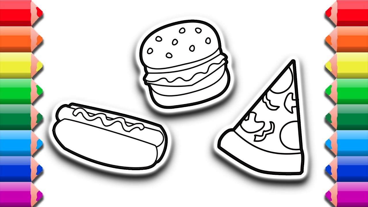 How To Draw And Color Hot Dog Burger Pizza Drawing And Coloring Pages For Kids
