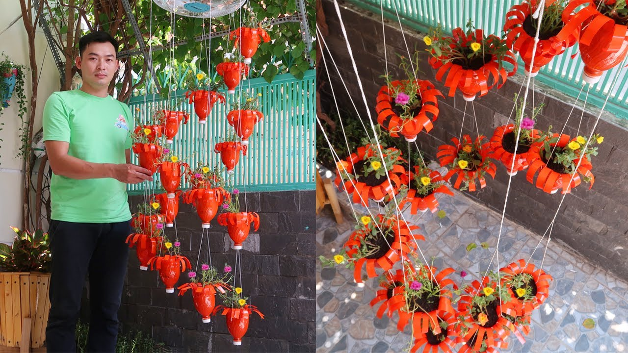 Amazing ideas: Making Spiral Hanging Garden with plastic bottles, It's very easy and cheap