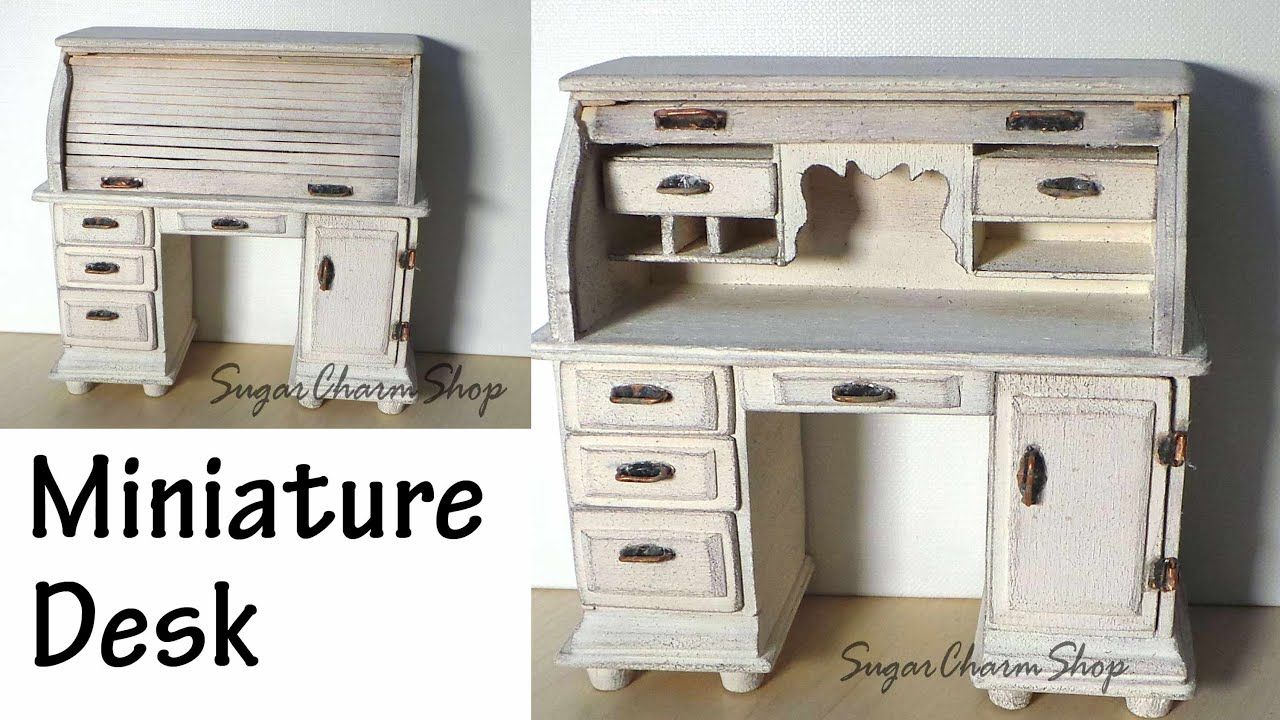 Miniature Furniture; Roll Top Desk Tutorial (Bonus Video) - YouTube