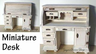 Miniature Furniture; Roll Top Desk Tutorial (Bonus Video)