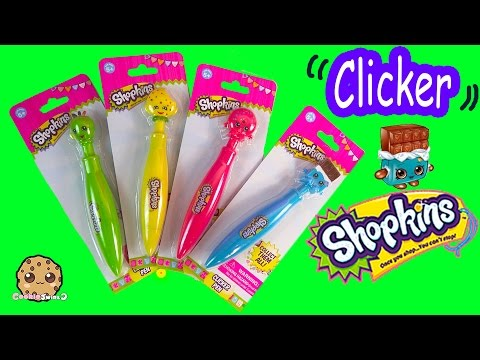 4 Shopkins Season 1 Clicker Pens Packs School Supply -  Fun Toy Unboxing Video Cookieswirlc
