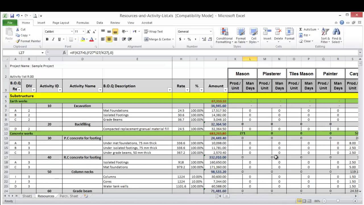 Lesson 8 part 2 create resource loading sheet on excel youtube lesson 8 part 2 create resource loading sheet on excel planning engineer alramifo Gallery