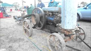 Heyfield Vintage Rally; starting a 10hp Jelbart engine - 18th May 2013.