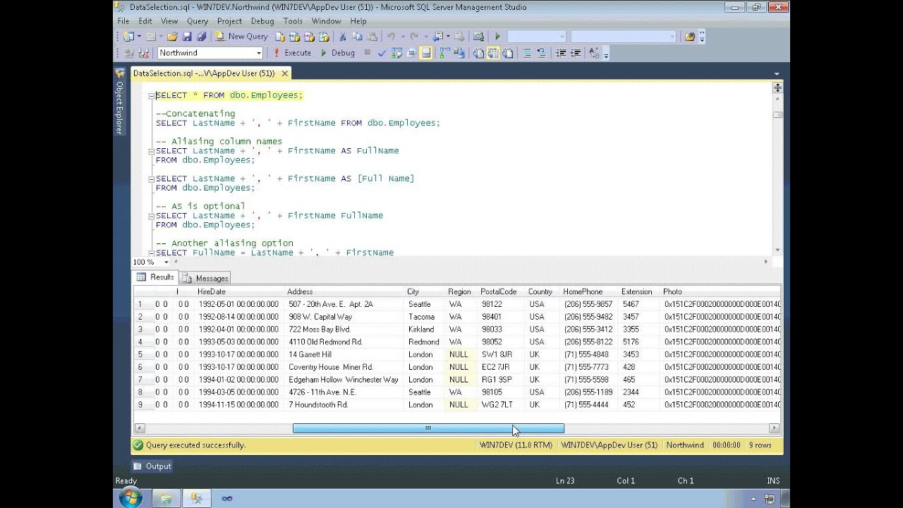 Tutorial: mssql windows form development multi-user application.