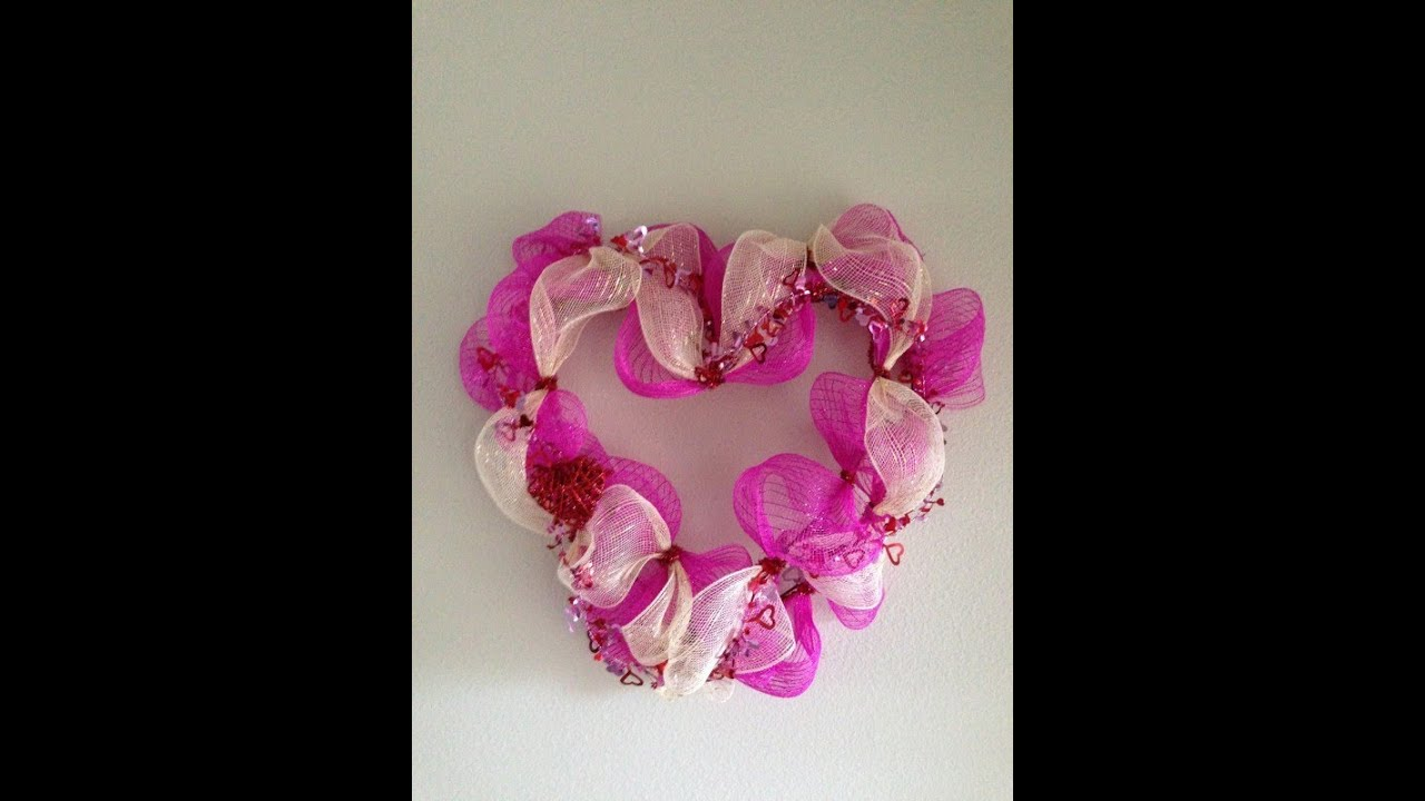 valentines day deco mesh wreath tutorial youtube