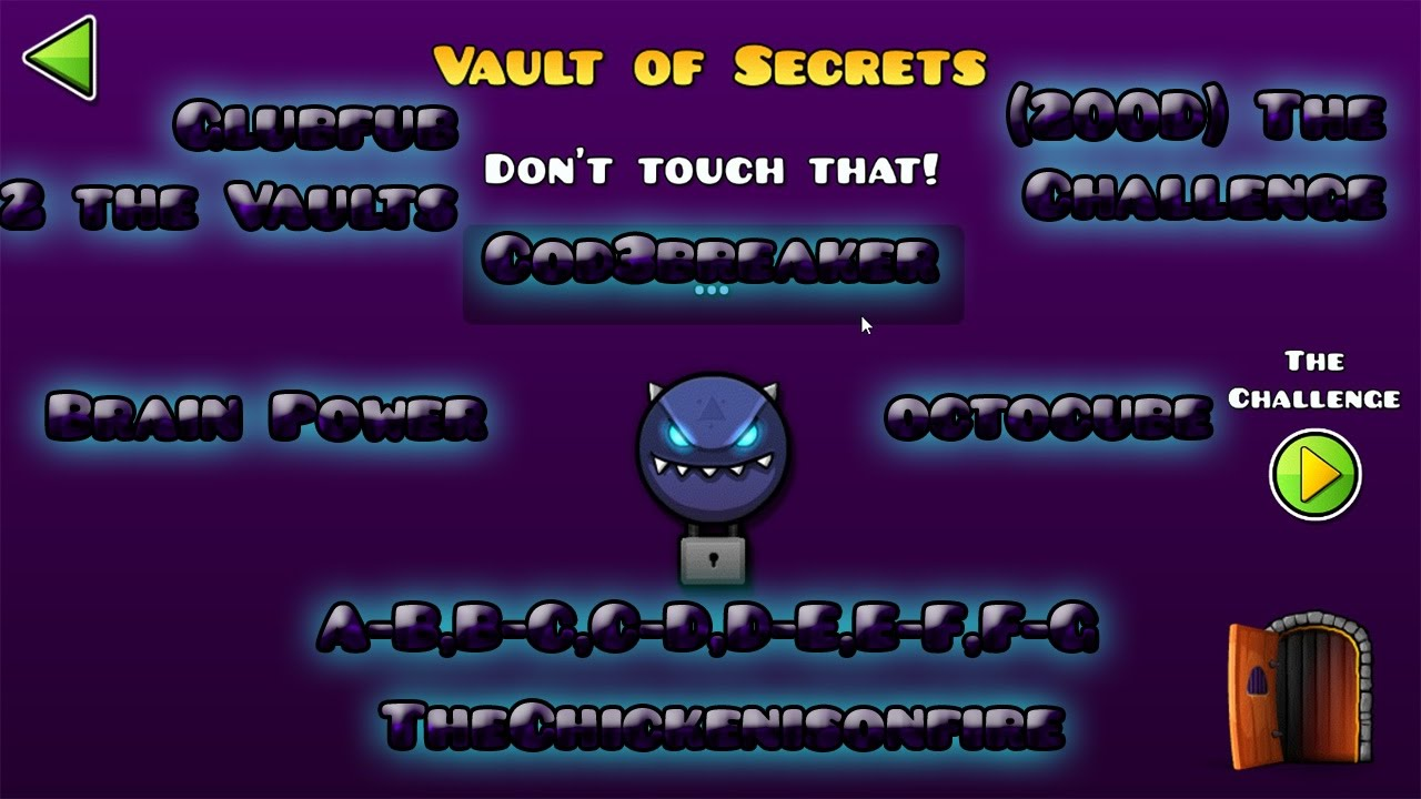 The vault of secrets all codes geometry dash full vers 2 for Vault of secrets