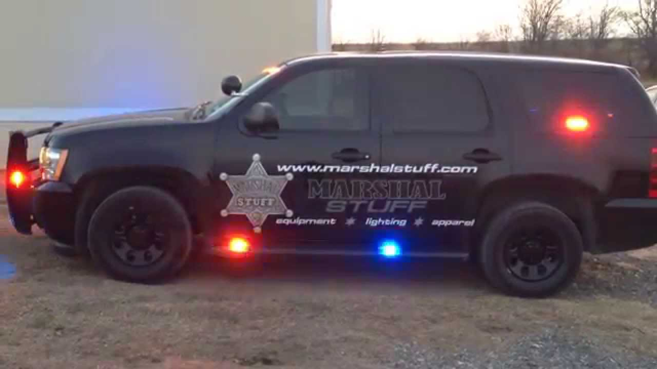 Feniex lights in 2013 Black Chevy Police Tahoe side view ...