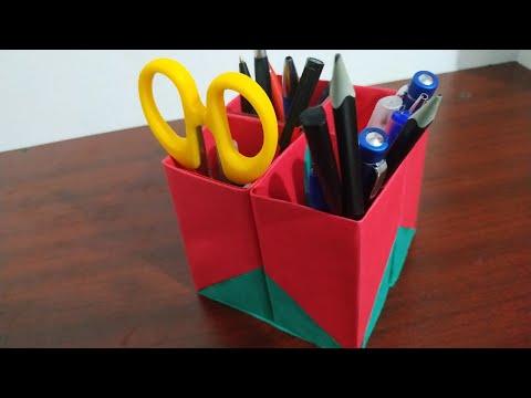 How to make a Easy pen Holder-Easy paper craft (10മിനിറ്റ് കൊണ്ട്  പേപ്പർ വച്ചു ഒരു അടി പൊളി penbox)