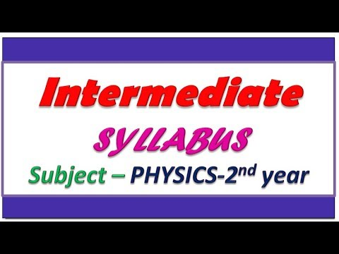 Intermediate 2nd year Physics syllabus || Intermediate Physics II chapter  names