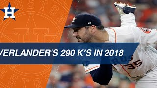 Verlander's 290 K's in the 2018 season