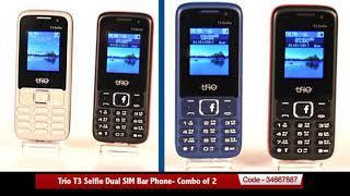 Trio T3 Selfie Dual SIM Bar Phone- Combo of 2