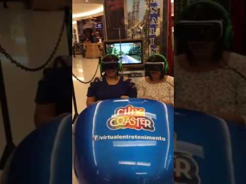 Mulher se desespera ao andar em simulador de montanha russa