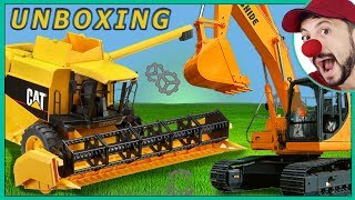 Clown Bob and Funny unboxing & play with toy Construction vehicles Combine Harvester