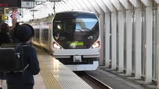 中央線E257系特急あずさ20号新宿行国立駅高速通過※ミュージックホーン+警笛あり