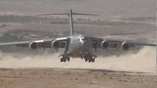 C17 Landing on dirt runway