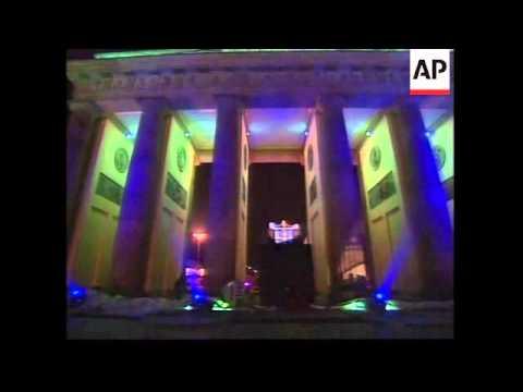 Brandenburg Gate's unveiling highlights German unity day