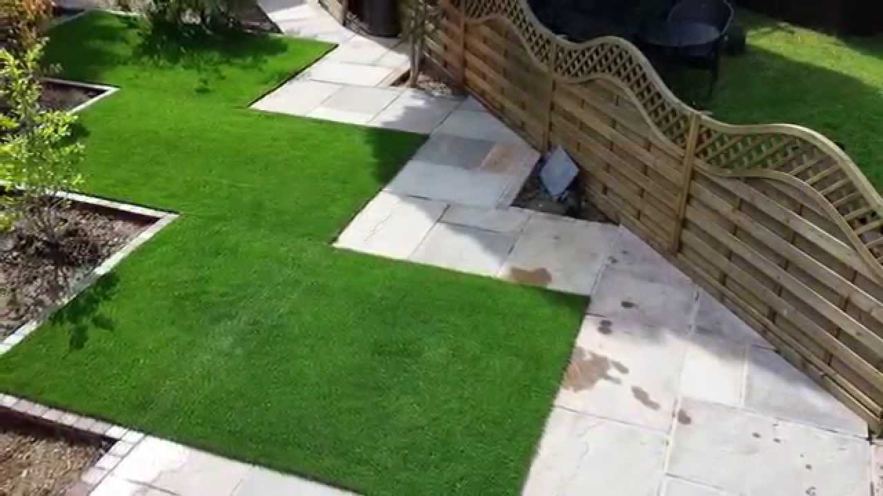 Garden Design Artificial Grass complete garden makeover - artificial grass and indian sandstone