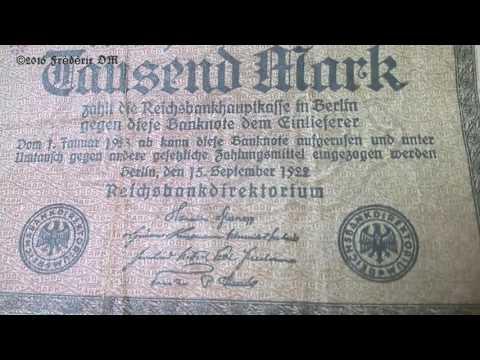 Mark 1000 Reichsbanknote 1922. old money bill Germany Berlin