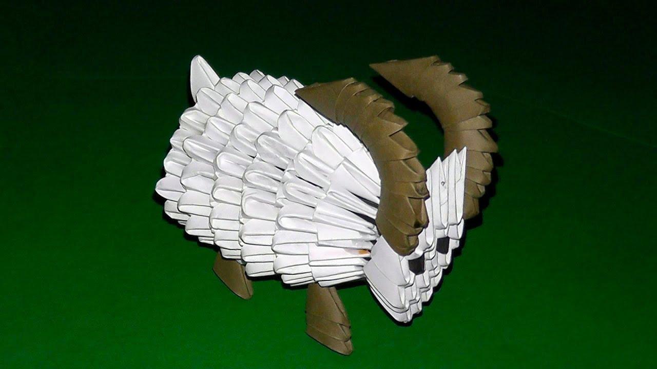 Японское модульное оригами коза овца мастер класс для новичков #2