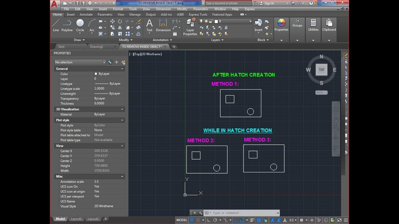 HOW TO REMOVE INSIDE HATCH AUTOCAD, i want to create hatch but not in  inside object