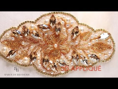 Bead Embroidery Design Flower And Leaves With Beads And Crystals SwarovskiI  By Baroudi Broderie